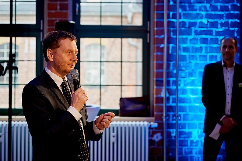 Ministerpräsident Michael Kretschmer überbrachte Grußworte und gute Wünsche für die Zukunft